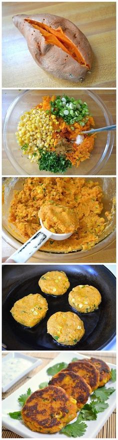 Sweet Potato Corn Cakes with Garlic Dipping Sauce #sweetpotato #cakes #easy