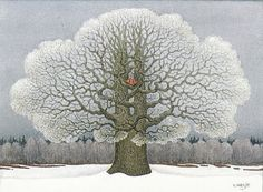 Lennart Helje is a Swedish illustrator particularly known for his wondrously moody paintings of gnomes either with animals or without, but usually with snow.