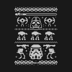 Awesome 'The+Dark+Side+of+Christmas' design on TeePublic! - Knitting – The darkest art of them all. Xmas Cross Stitch, Counted Cross Stitch Patterns, Cross Stitching, Cross Stitch Embroidery, Embroidery Patterns, Knitting Charts, Knitting Stitches, Knitting Patterns, Star Wars Christmas