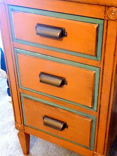 Nice Distressed Orange Desk With Green Accents