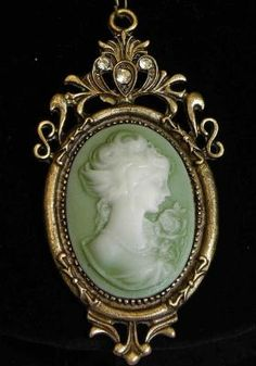 Antique cameo blue pendant necklace iaccesorize to go pinterest have never seen a cameo in green beforelove it unusual mozeypictures Image collections