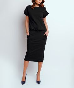 NAOKO Look what I found on #zulily! Black Side-Pocket Blouson Dress - Plus Too #zulilyfinds