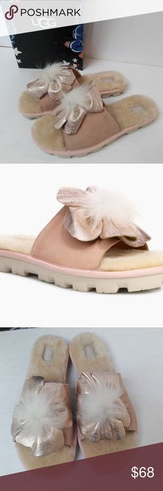 I just added this listing on Poshmark: New UGG Pretty Slides Size Ugg Sale, Uggs On Sale, Metallic Leather, Suede Leather, Plain Tees, Leather Flowers, Fashion Design, Fashion Tips, Fashion Trends