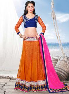 Orange Net A Line Lehenga Choli 104855