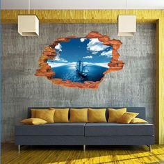 3D Blue Sky Sea Sailing wall sticker- 50x70cm