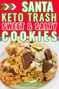 These Keto Trash Cookies are the perfect combination of sweet and salty. They are Santa trash keto cookies that use leftover keto-friendly items allows you to use what's in your pantry for a delicious compost, garbage can cookies minus all the carbs. keto trash cookies |keto cookies low carb cookies|keto holiday cookies| sugar-free trash cookies Sugar Free Cookies, Keto Cookies, Gluten Free Cookies, Brownie Recipes, Cookie Recipes, Keto Recipes, Great Recipes, Favorite Recipes, Keto Holiday