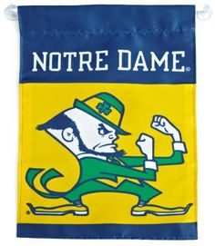 "NCAA Notre Dame Fighting Irish 2-Sided Garden Flag by BSI. $12.51. Support your favorite team by hanging up this Collegiate premium 2-sided garden flag. This 13 by 18 inch garden flag is made of durable, heavy-duty 150-denier polyester and has a 1"" pole sleeve so it is easy to hang. The officially licensed banner is brightly decorated in the team colors and proudly displays the official team graphics on both sides."