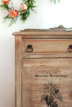 Close Up of Prima 'Time' Transfer on Salvaged Dresser as well as a demonstration of painting this dresser with powder