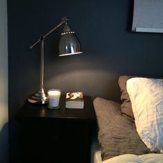 My bedroom! New gray paint on one wall :) Desk Lamp, Table Lamp, Gray Paint, Lighting, Bedroom, Grey, Wall, Photos, Home Decor
