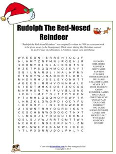 Rudolph The Red-Nosed Reindeer Word Search