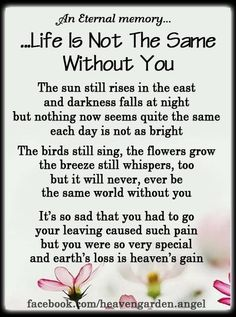 ....Life is not the same without you