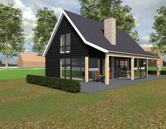 Nieuw te bouwen schuurwoning in Hendrik Ido Ambacht. Ontwerp Sander Bongers Uitvoering 2018 Prefab Cottages, Cabins And Cottages, Tiny House Cabin, Tiny House Design, House Roof, Facade House, Metal Building Homes, Building A House, Casa Loft