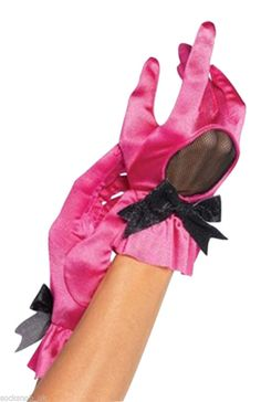 6.11$  Buy now - http://vidif.justgood.pw/vig/item.php?t=rvgpw2381 - SALE - Ladies Burlesque Hot Pink & Black Sexy satin Gloves One size Fancy Dress