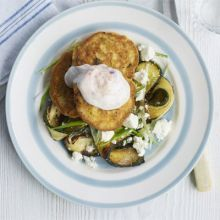 Chickpea fritters with courgette salad