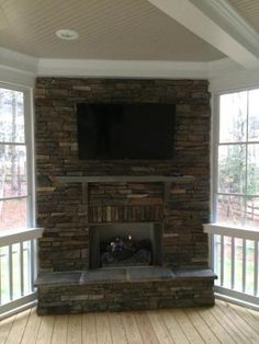 Exceptional Waxhaw Stack Stoned Fireplace