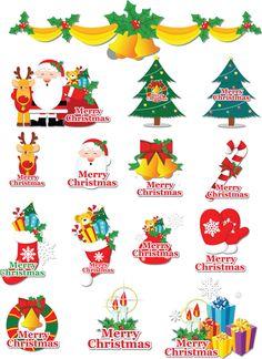 Cartoon Christmas labels vector