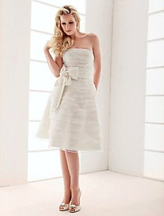 A-line Strapless Knee-length Wedding Dress  – USD $ 179.99AWFUL BOWS!!!!