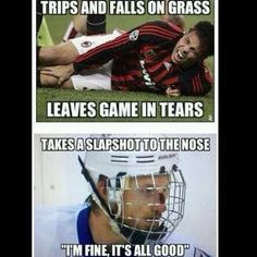 """There are sports, and then there are sports. A grass stain for some, is a game-ender. Hockey players are a whole other breed. Slapshot to the face? """"I'm fine, all Good! Blackhawks Hockey, Hockey Mom, Field Hockey, Ice Hockey, Hockey Stuff, Stars Hockey, Chicago Blackhawks, Funny Hockey Memes, Hockey Quotes"""