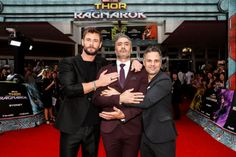 Chris Hemsworth Mark Ruffalo and Taika Waititi attend the...