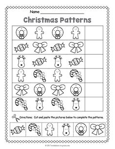 Cut and paste Christmas pattern worksheet for preschool and kindergarten. Gives practice in pattern recognition and reproduction. Christmas Worksheets Kindergarten, Preschool Christmas, Noel Christmas, In Kindergarten, Christmas Activities For Preschoolers, Christmas Bingo, Christmas Program, Toddler Christmas, Xmas