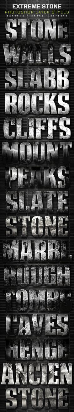 16 Extreme Stone Layer Styles Volume 5. Download here: http://graphicriver.net/item/16-extreme-stone-layer-styles-volume-5/16496495?ref=ksioks