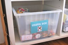 A Little Learning For Two: The Useful Box (have a box filled with odds and ends to encourage creativity -- scrap fabric, pegs, plastic lids, rocks, sticks, buttons, etc.)