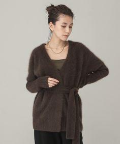 【先行予約】ラクーンニットラップカーディガン Fur Coat, Knitting, Sweaters, Jackets, Products, Fashion, Dress, Down Jackets, Moda