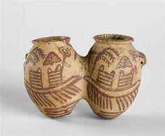 Vase ovoïde à double panse et anses tubulaires |  4e millénaire av J.-C. Egypte ancienne - Néolithique - Nagada II