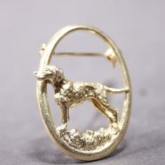 Dalmatian gold-plated BROOCH one dog in oval ring