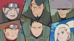 Ino-Shika-Cho, Choji, Shikamaru, Ino, Choza, Shikaku, Inoichi, fathers; Naruto