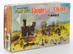 "Lot 350: Marx ""Knights & Vikings"" Hard Plastic Play Set; Including the original box, the instruction leaflet, the building and trees; no figures"