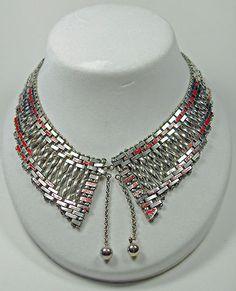 Art Deco Jakob Bengel Machine Age Chrome Red Enameled Brickwork Collar Necklace   eBay