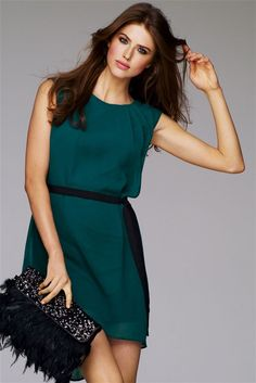 Dip Back Party Sleeveless Dress in Teal $64