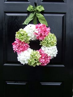 Resrved listing for Jennifer - Pink, Green and White Hydrangea Wreath