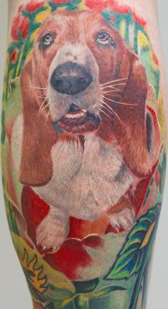 color flowers basset hound tattoo