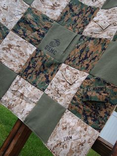 Custom Military uniform memory quilt by Abuandlace on Etsy Custom Military uniform memory quilt by Abuandlace on Etsy Source by calicotam. Military Retirement, Military Mom, Army Mom, Military Signs, Flag Display Case, Display Cases, Marine Mom, Marine Corps Baby, Camo Quilt