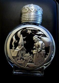 Santa Perfume Bottle Christmas JJ Jonette vintage pewter SALE