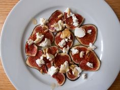 Autumn starter: Figs, goat cream cheese, rosemary jelly, olive oil  and pines