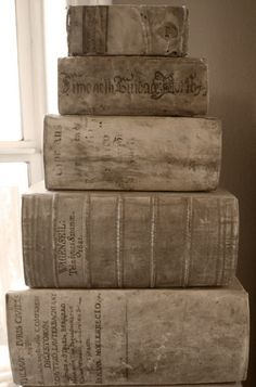 Thick taupe tomes, some in Latin. Posted at Farragoz: The Art of Patina