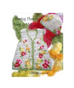 Crochet Spring Flowered Vest & Hat - PATTERN ONLY. www.etsy.com/shop/crochetrenaissance