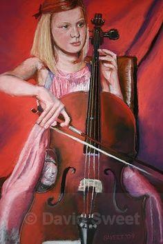 Girl on a Cello - Children's Portraits Cello, Violin, Musical Instruments, Musicals, Portraits, Paintings, Music Instruments, Paint, Head Shots