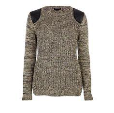 khaki metallic ribbed pu patch jumper - jumpers - knitwear - women - River Island