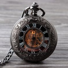 Classic Steampunk Roman Dial Mechanical Skeleton Steel Mens Black Windup Pocket Watch Alternative Measures