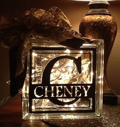 Items similar to Vinyl Decorative Glass Blocks, Lighted, Custom Name w Year Established, Brown on Etsy Vinyl Projects, Diy Craft Projects, Fun Crafts, Craft Ideas, Decorative Glass Blocks, Glass Block Crafts, Glass Brick, Glass Boxes, Glass Cube