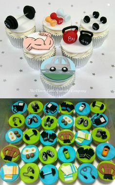 Working out Cupcakes. Totally doesn't make sense to make fitness themed cupcakes… Fathers Day Cupcakes, Cupcakes For Men, Themed Cupcakes, Cupcake Icing, Fondant Cupcakes, Cupcake Cakes, Cupcake Toppers, Muffins, Festa Tema Arabian Nights