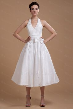 Satin halter te-lengde a-linje brudekjole med sløyfe - Focus Vogue