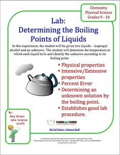 boiling point lab The boiling point of a substance is the temperature at which the vapor pressure of the liquid equals the pressure surrounding the liquid and the liquid changes into a vapor the boiling point of a liquid varies depending upon the surrounding environmental pressure.