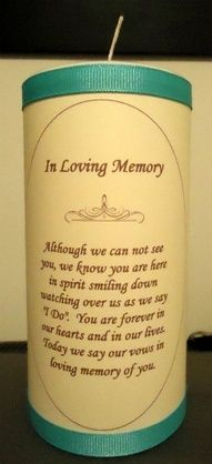 This will be the candle that is lit during Julie's ceremony to remember those that are with her and her groom in spirit. The person on Etsy that makes them personalizes them to fit the wedding colors, so based on the choices they offer, the paper around the candle will be white, the ink black, and the ribbons in plum.