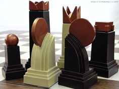 Art Deco Llanura Tema juego de ajedrez