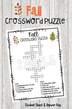Crossword Puzzle for Fall